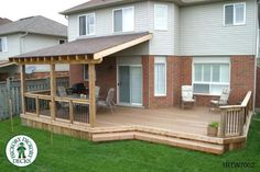 Covered portion of deck. Like the pergola look in the exposed rafters. And uncovered portion of deck Back Patio, Patio Roof, Front Deck, Small Patio, Covered Decks, Covered Deck Designs, Covered Deck Ideas On A Budget, Covered Pergola, Backyard Patio Designs