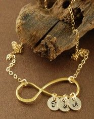 Gold Infinity Initials Necklace