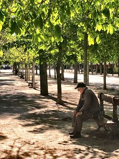 Old man sitting on a bench in a park in Madrid Spain