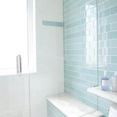 Blue Glass Subway Shower Tiles with Gray Mosaic Shower Floor, Contemporary, Bathroom%categories%Kitchen Glass Tile Shower, Blue Glass Tile, Blue Subway Tile, Shower Floor, Glass Tiles, Glass Subway Tile, Mosaic Glass, Blue Mosaic Tile, Grey Tiles