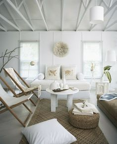 White at a beach house looks great - love the sling chairs