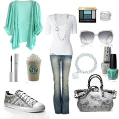 Ok...could go on my Fashion board b/c I like the gray and Tiffany blue BUT it makes me laugh that Starbucks is considered an accessory.