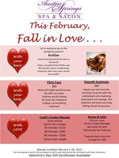 Fall in love with our February specials Valentine Day Massage, Day Spa Specials, Couples Spa Day, Spa Promo, Spa Sale, Luxe Oil, Salon Promotions, Mobile Spa, Essential Oils For Massage