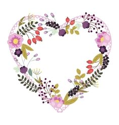 Save the date floral card heart frame vintage wedding vector by Lyusya on VectorStock®