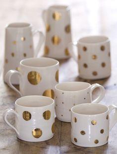 sara russell interiors: DIY gold polka dot mugs