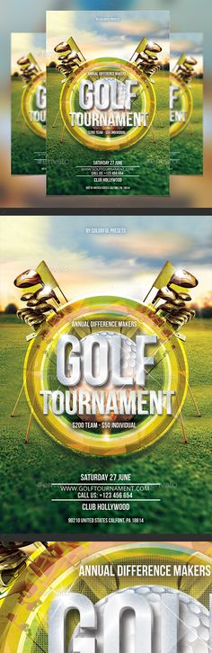 """Details 4x6 ( """" 4.25x6.25 """" with bleed settings) 300 DPI CMYK Print Ready! PSD Layered 1 PSD file Fonts Used Bebas Neue, Open Sans Golf Tournament text : Open Smart Object layer and place your textPlease Don¡¯t Forget To Rate!"""