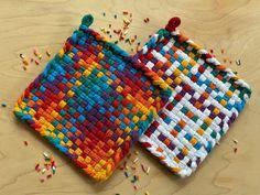 Potholder Patterns, Potholders, Learning Patience, Peg Loom, Diamond Pattern, Neutral Colors, Rainbow Colors, Hand Weaving