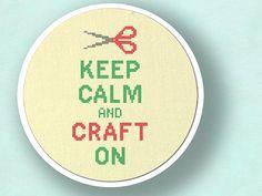Keep Calm and Craft On. Cross Stitch PDF Pattern door andwabisabi, $5.00