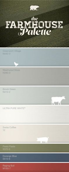 About Farmhouse Farmhouse color palette-Greenwich Village for downstairs bedrrom and weathered moss for the bathroom.Farmhouse color palette-Greenwich Village for downstairs bedrrom and weathered moss for the bathroom. Farmhouse Paint Colors, Paint Colors For Home, Farmhouse Color Pallet, Rustic Paint Colors, Kitchen Paint Colours, Bher Paint Colors, Hallway Paint Colors, Farmhouse Exterior Colors, Best Kitchen Colors