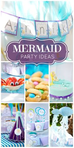 What a beautiful blue and purple Mermaid girl birthday party!