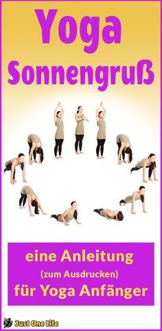 Yoga Sonnengruß -eine Anleitung zum Ausdrucken für Anfänger