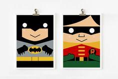 Batman and Catwoman art prints set of 2 by loopzart on Etsy Batman Party, Superhero Party, Batman Und Catwoman, Joker, Cute Cartoon Characters, Pop Culture Art, Art Wall Kids, Wall Art, Batman Robin
