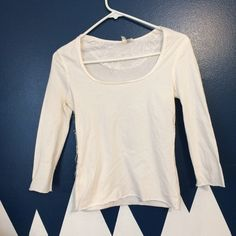 Cute Moth top Worn but in good shape no rips stains or tears. Three-quarter sleeve with lace down one side. Bundle for a better price! Anthropologie Tops Blouses