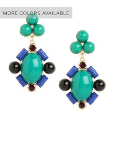 Take a page from the ever-fabulous Carmen Miranda and have some colorful fun with your accessories. Case in point: these statement drop earrings made from playful (and glam) cabochon baubles.