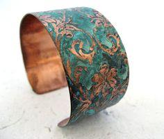 Gorgeous Damask patterned copper bracelet by Christy Anne jewelry. Enamel Jewelry, Copper Jewelry, Jewelry Art, Jewelry Design, Cuff Jewelry, Designer Jewellery, Wire Jewelry, Earrings Handmade, Handmade Jewelry