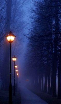 Foggy night in Paris, France