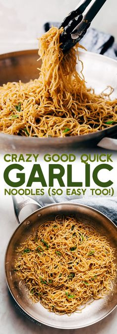 Crazy Good Quick Garlic Noodles – a quick 15 minute recipe for garlic noodles! T… Crazy Good Quick Garlic Noodles – a quick 15 minute recipe for garlic noodles! These noodles are a fusion recipe and have the BEST flavor! Healthy Recipes, Asian Recipes, Cooking Recipes, Cheap Recipes, Quick Pasta Recipes, Garlic Recipes, Vegetarian Recipes Noodles, Easy Noodle Recipes, Quick Food Recipes