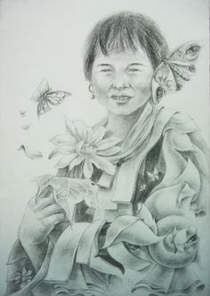Drawing Pancil on Paper by Sittichai Pijitam (cycnas) Butterfly Flowers, Painting Prints, Art Drawings, Pencil, Sculpture, Fine Art, Paper, Fictional Characters, Sculptures