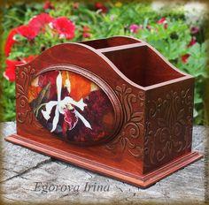 """Купить Подставка карандашница органайзер """"Орхидеи"""" - бордовый, красное дерево, карандашница, карандашница декупаж"""