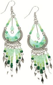 Stainless Steel Peruvian Green Silk Thread Beaded Dangle Earrings