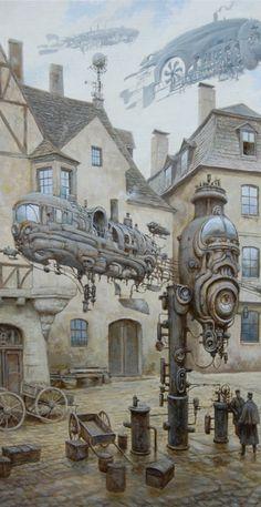 """Комендантский час Арт (изобразительное искусство в стиле стимпанк) Моя новая картина.Холст, масло40х50см. За основу взята реально существовавшая улица во Франкфурте на Майне. Эти дома, к сожалению вторую мировую не пережили. """"curfew Art (visual arts Steampunk ) My new kartina.Holst , maslo40h50sm . It is based on the actually existing street in Frankfurt am Main . These houses , unfortunately did not survive the second world ."""" [translation via Google Translate]"""