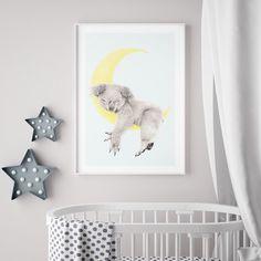Benji the Sleepy Head   Koala, Australian Animal, Nursery Art, Nursery Print