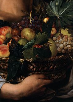 """Detail from Caravaggio's """"Boy with a Basket of Fruit"""", c.1593."""