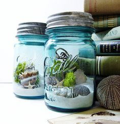 Beach in a jar - perfect to make the office a little more cheery.