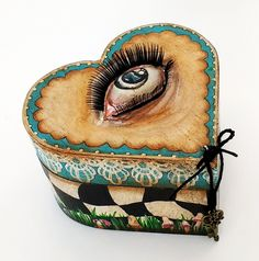 Alice in Wonderland heart box - acrylic and paper clay on wood with mixed media elements