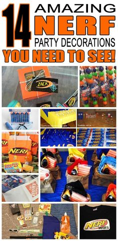 14 Amazing Nerf party decoration ideas for kids birthday parties! Children will love these cool nerf birthday party decorations and activities.