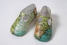 Paper shoes by Isabelle de Borchgrave Baby map shoes by Jennifer Collier Paper shoes by Jennifer Coliier Paper shoes, cover for Naif Magazine Cardbox shoes by Mark O'Brien via Etsy Paper shoes by Martin Margiela Everyday Items, Everyday Objects, Baby Mapping, Jennifer Collier, Paper Shoes, Sweet Station, We Are The World, Shoe Art, Old Paper