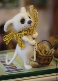 Игрушки животные, ручной работы. Ярмарка Мастеров - ручная работа. Купить Мышки - малышки. Handmade. Белый, мышата, теплый подарок