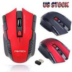 2.4Ghz Portable Wireless Mice 4000dpi Optical Gaming Mouse For PC Laptop Black