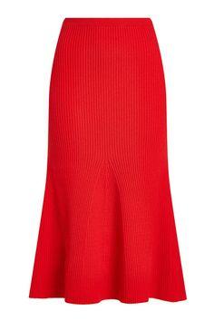 Knitted Flutter Hem Skirt with Wool | Victoria Beckham