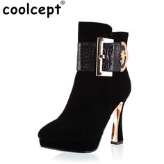 High Heel Boots Free Shipping Half Ankle Short Natrual Real Genuine Leather Women Snow Boot Shoes R2085 Size 34 39