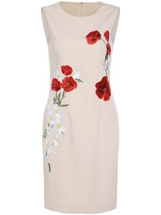 Shop Apricot Round Neck Sleeveless Embroidered Dress online. SheIn offers…