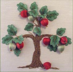 Apple Tree with stumpwork embroidery