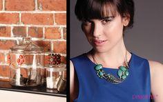 PINKSTIX emerald green/blue FLORA statement necklace