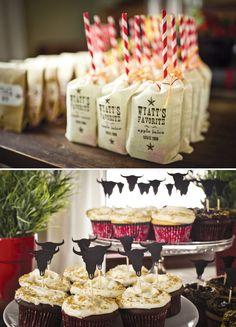 Me encantan estos cupcakes para una fiesta cowboy! Y míra como decoran las cajitas de zumo... / Great snacks for a cowboy party!