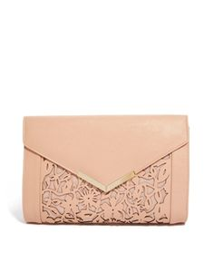 own this. perfect clutch. Love the blush/nude color and the pretty cutout details. Image 1 of ASOS Floral Laser Cut Clutch Bag