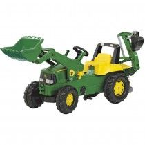 Kettler John Deere Loader with Backhoe is a multipurpose pedal tractor! The kids ride-on is three toys in one: a tractor, loader and backhoe. John Deere Backhoe, John Deere Kids, Tractors For Kids, Pedal Tractor, Backhoe Loader, Tractor Loader, Power Wheels, Farm Toys, Ride On Toys