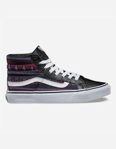 Vans Guate Stripe Sk8Hi Slim       a slimmed down version of the legendary  lace Black High Top ShoesBlack