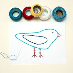 Create these simple fun embroidered cards. A great kids activity