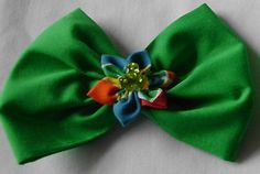 """Set of 2 Hair Bows lined Alligator Clips! GREEN 3"""" L X 3"""" W NEW!"""