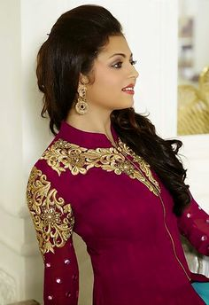Magenta Color Georgette Palazzo Anarkali Suit With Chiffon Dupatta Buy Now : http://buff.ly/1M6qDYg Rs. 2,949.00/- #MadhubalaCollection #PlazzoSuits #FreeShipping in India