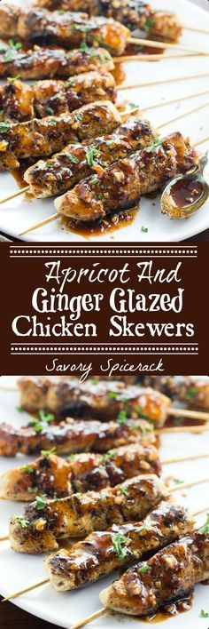 I made these delicioI made these delicious Apricot and Ginger Glazed Chicken Skewers for dinner the more night and now my hubby is asking for them again! And Great For Grilling! and this is picked for your for father's day . Kabob Recipes, Duck Recipes, Turkey Recipes, Grilling Recipes, Dinner Recipes, Cooking Recipes, Healthy Recipes, Easy Recipes, Gastronomia