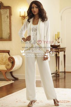 Ivory Chiffon Hand beading outfits for mother of the bride pants suit nmo-171