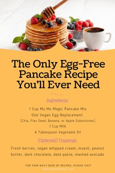 How to Make a Vegan Pancake Without Eggs or Milk (Easy Healthy Pancakes Recipe Without Egg or Milk) - vegan breakfast ideas - Pancake Recipes Healthy Pancake Mix, Pancake Toppings, Healthy Vegan Breakfast, Pancake Recipe Without Eggs, Best Pancake Recipe, Pancake Recipes, Egg Free Pancakes, Tasty Pancakes, Vegan Food List