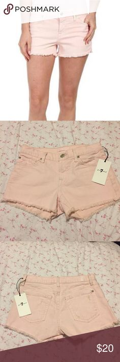Super cute pink shorts!! NWT 7 For All Mankind Sz 24 light pink shorts!! Super cute and NWT, make me an offer :) 7 For All Mankind Shorts