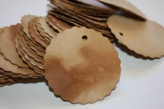 Price Tag set of 25 Scalloped Circle Tea Stained by TiaZoey, $1.75